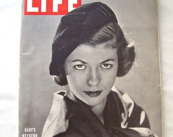 Vintage Life Magazine 1948 Gaby's Weekend Cigarette Advertising Atlantic City Hollywood Actress French Model Car Advertisements