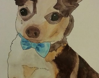 Custom watercolor of your pet - Valentine, portrait, dog, cat, gift