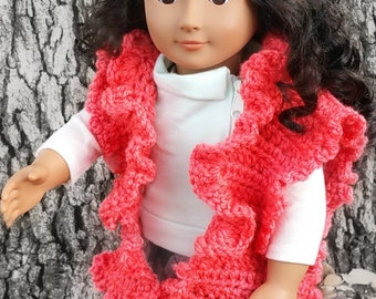 "Crochet Pattern - My Dolly Ruffled Ruana crochet pattern 18"" doll pattern Crochet Pattern toy"