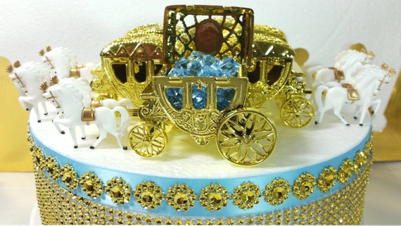 New little prince gold horse carriage favors decorative