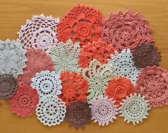 20 Pumpkin Spice Colors,  Hand Dyed Vintage Crochet Doilies, Set of Orange, Brown, White, and Off White Doilies