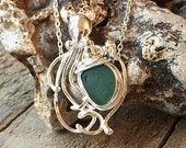 TEAL Sea Glass OCTOPUS Necklace Nautical Sea Life Jewelry ARGENTIUM Sterling Silver 935