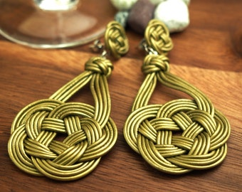 Chinese Knot Earring by Natural Leather Rope, Bistre Brown, with 925 Sterling Silver Ear-wire