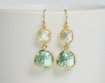 Prasiolite Green Earrings, Gold Crystal Bridesmaid Earrings, Light Green Earrings Mint Green Bridal Jewelry Bridesmaid Gifts Wedding Jewelry