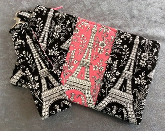 Clutch Wristlet Small Purse Bright Florals Eiffel Tower Black and Pink