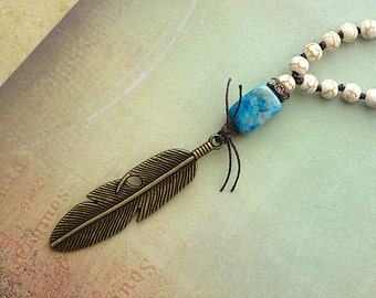 Brass Feather Pendant / White Howlite /  Knotted Necklace