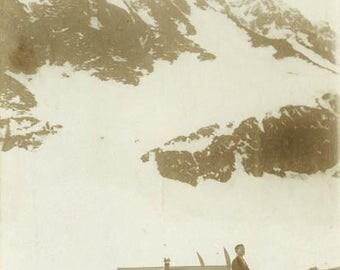 "Antique Real Photo Postcard ""Making Their Way to the Snowy Top"" RPPC Photo Black & White Photograph Paper Ephemera Collectible - 61"