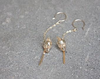 Luxe Swarovski Crystal Skull Drop Earrings in 14 Karat Gold