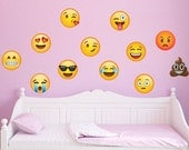 12 Large Emoji Wall Decal Peel and Stick Repositionable
