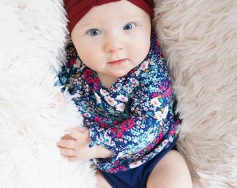 BURGUNDY Valentines Day Red Baby Headband - Baby Girl Valentine Headband - Dark Red Headband - Topknot Turban Headwrap - New Baby Gift