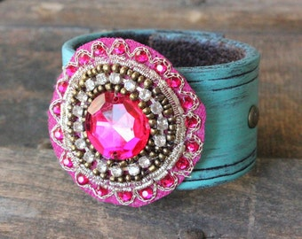Anais Bohemian Leather Cuff - Recycled Belt Jewelry Upcycled Sustainable Turquoise Pink Bracelet