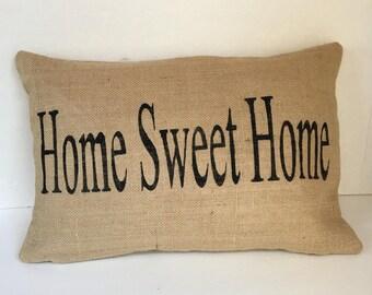 "Home Sweet Home Lumbar Burlap Pillow Made to Fit 12"" x 18"" Insert"