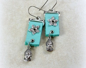 Turquoise Leather Buddha Earrings - Silver and Turquoise Earrings, Turquoise Leather Earrings, Buddha Earrings