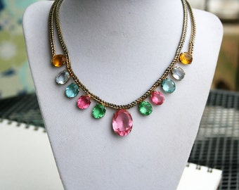 Vintage Crystal Bib Necklace Rainbow Multicolor Glass