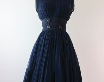1950s Navy Silk Chiffon Cocktail Dress