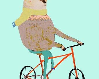 Winter Bear Biking. Illustration Art Print, kids art, nursery decor, biking art