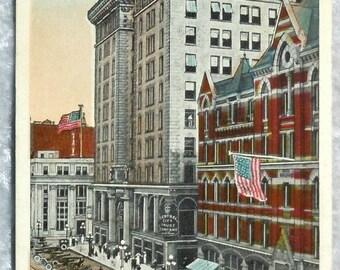 Syracuse N.Y. Vanderbilt Square Postcard, Antique Color Ephemera c1920, Upstate New York, Downtown Street Scene, FREE SHIPPING