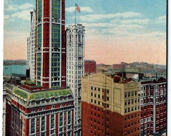 N.Y. City Singer Building & Financial District Postcard, NYC Manhattan Skyscraper, Antique 1912 Unused Ephemera, FREE SHIPPING