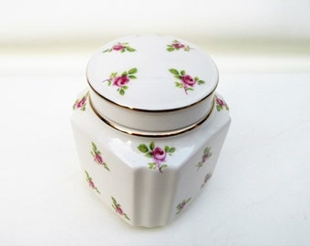 Vintage Ginger Jar, Windsor English China, Vanity Jar, Powder Box, Pink Roses