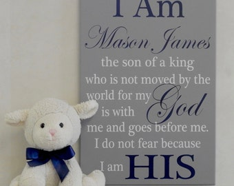 I Am His - Son of a King - Baby Nursery, Christian Baby Gift, Baby Shower, Personalized Baptism Bible Verse for Child