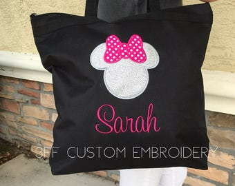 Personalized Minnie or Mickey Tote Bag