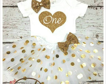 Birthday Girl Baby Outfit, 1st birthday heart white and gold princess set,  birthday gold polka tutu, white and gold smash cake outfit