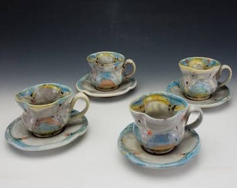 Teacup and Saucer in Blue and Yellow with orange accents for hot tea, hot chocolate, espresso, coffee, etc