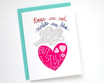 Funny Valentines Card - I Love You Card - Valentine's Day Card - Funny Fart Card
