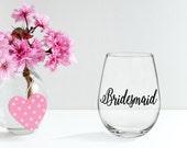 Wedding Decals- Bridesmaid Gift- Vinyl Decal- Wine Glass Decal- Bridal Party Decals- Bridal Party Gift- Bride Decal- Bridesmaid Decal