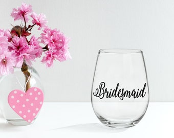 Wedding Decals- Bridesmaid Gift- Vinyl Decal- Wine Glass Decal- Bridal Party Decals- Bridal Party Gift- Bride Decal- Bridesmaid Decal