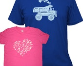 Valentines Day Matching Father Daughter Shirts, Dump Truck and Hearts T shirts, gift, new dad shirt, father daughter, gift for dad, set