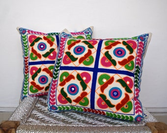 Hand Embroidery ,Kutch embroidered, Indian Embroidered throw,Multicolor Indian Otomi Pillow Cushion Covers 16x16