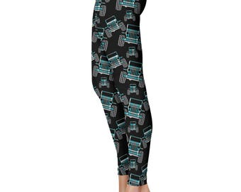 Plaid Offroad Leggings, Capris or Yoga Pants • Teal Plaid