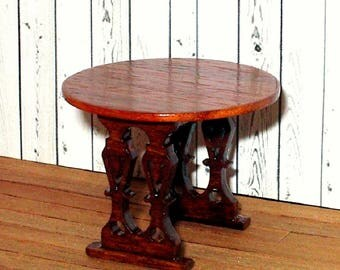 Round Gothic Side Table, Tulipwood Table, Medieval Dollhouse Miniature, 1/24 Scale Size, Hand Made