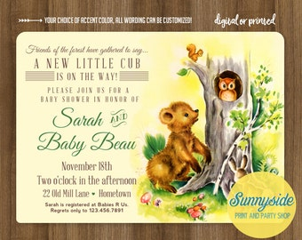 Woodland forest baby shower invitation, vintage style bear cub, printable or printed baby shower invite, forest creatures owl and squirrel