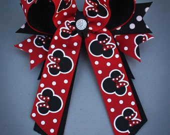 Minnie Mouse Hair Bow, Minnie Mouse Bow, Red and Black Minnie Mouse Bow, Disney Bows, Minnie Mouse Birthday, Minnie Mouse Party, Minnie Bow