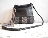 Woven Leather Black Grey Chevron Weave Shoulder or Crossbody Purse. Pebbled Leather  - Made to Order