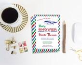 Airplane Baby Shower Invitation Template, Vintage Plane, Editable Invitation, Printable Invitation, Baby Boy Shower, DIY Shower Inivitation