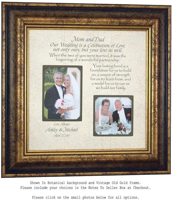 Wedding Sign For Parents Personalized Picture Frame