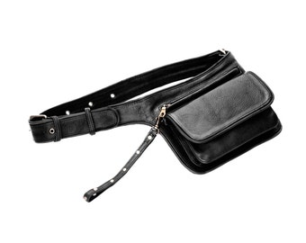 Black Leather Hip bag. Utility Belt in Black Leather. For hips and cross body. Cool for City, parties,festivals & traveling