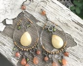 Sunstone, Peridot and quartz dangle earrings in sterling silver and gold