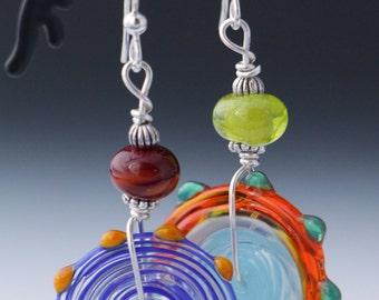 Beautiful Asymmetrical Colorful Lampworking Sterling Silver Earrings