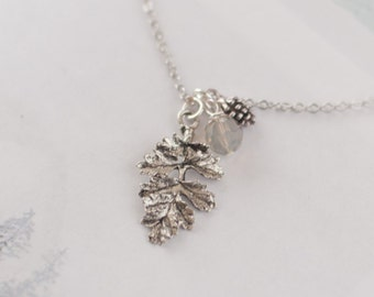 Winter Necklace, Christmas Necklace, Crystal Leaf Necklace, Christmas Jewellery, Xmas Gift, Pine Cone Necklace, Pine Cone Charm Jewellery
