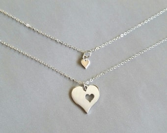 Mother Daughter Heart Necklace, Sterling Silver Heart Cutout Mother and Daughter Necklace, gift set for mother and daughter