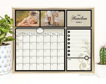 Digital Custom Calendar  - 16x20 Custom Last Name - Dry Erase Calendar - Wall Organizer - JPEG Digital/Printable File  -  You Print
