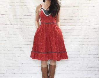 RARE Vintage 70s GUNNE SAX Red Navy Calico Floral Prairie Midi Dress M L Ruffled Lace Trim Pockets