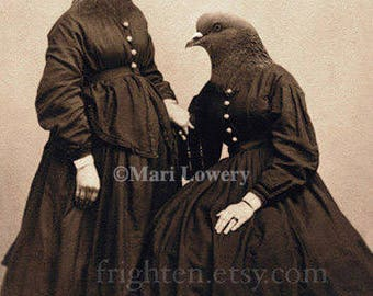 Pigeon Sisters Anthropomorphic Collage Art, Anthropomorphic Bird Art Twin Sisters 5x7 Print, 8x10 Print