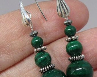 Sterling Silver and Malachite Fishook Earrings
