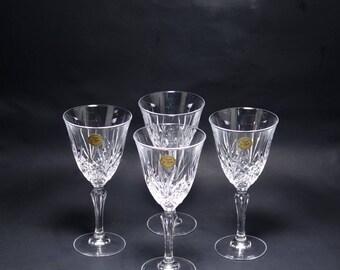 Vintage Cristal De Flandre France 24% Lead Crystal Salzburg Wine Stems, Cut Lead Crystal Salzburg Wine Stems, French Lead Crystal WIne Glass