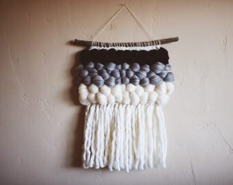 slate. a soft monochromatic ombre wool roving tapestry weaving